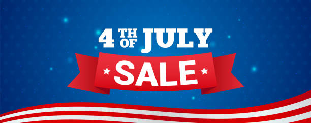 4th of july sale banner vector illustration. text on blue star pattern background. - happy 4th of july stock illustrations