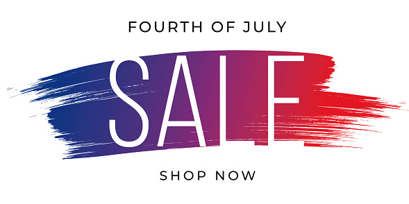 4th of July, Sale concept on brush stroke background. Poster, card, banner and background. Vector illustration.