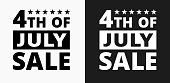 4th of July Sale Icon on Black and White Vector Backgrounds. This vector illustration includes two variations of the icon one in black on a light background on the left and another version in white on a dark background positioned on the right. The vector icon is simple yet elegant and can be used in a variety of ways including website or mobile application icon. This royalty free image is 100% vector based and all design elements can be scaled to any size.