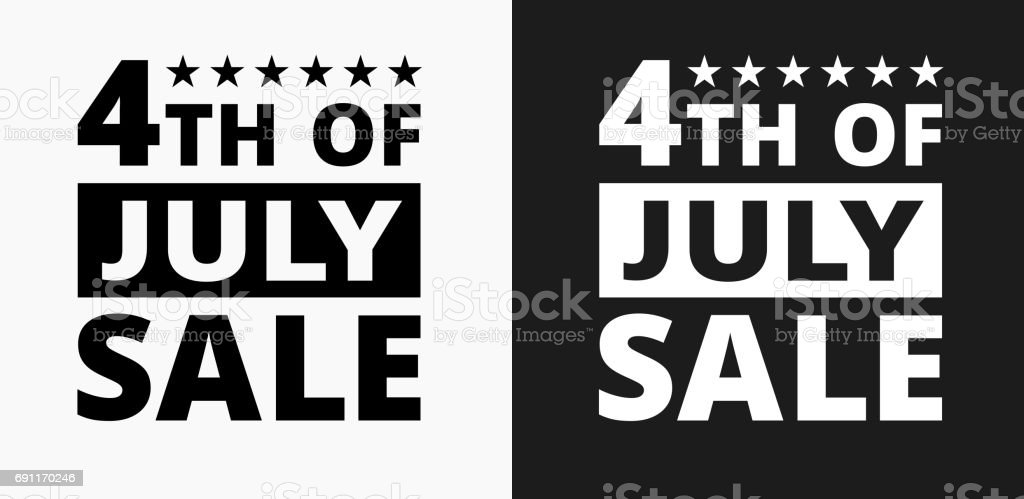 4th of July Sale Icon on Black and White Vector Backgrounds vector art illustration