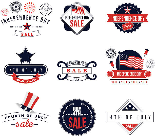 4th of July Sale icons EPS 10 vector vector art illustration