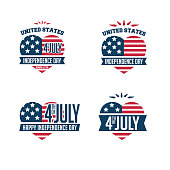 United Stated independence day greeting typographic heart shape label design. Vector illustrative set for badges, tags, greeting cards, banners, background. Fourth of July in USA emblems.