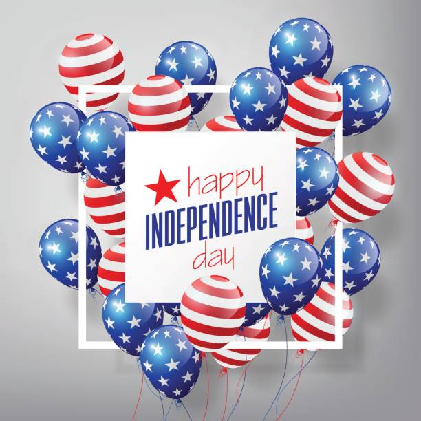 4th of July, United Stated independence day, USA flag Balloons vector art illustration