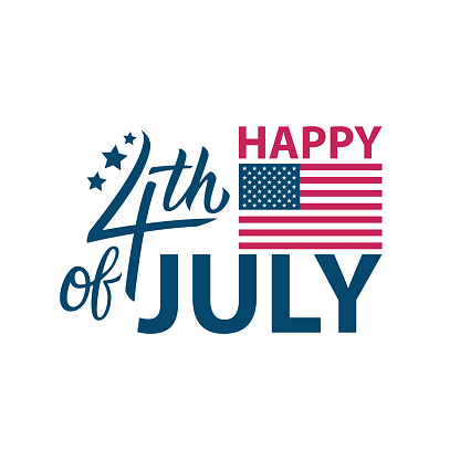 4th Of July United States Happy Independence Day Celebrate Card Template With Calligraphic Element Perfect For Usa National Holiday Greetings And Invitations Stock Illustration - Download Image Now