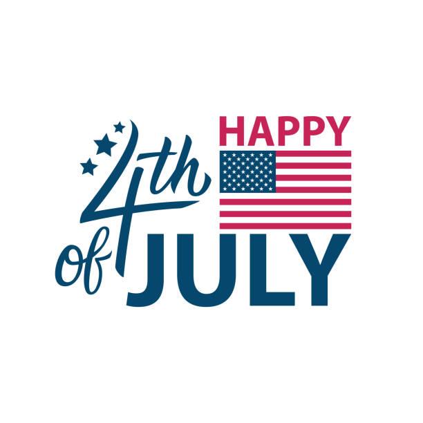 7月4日, 美國獨立節快樂慶祝卡範本與書法元素。完美的美國國慶日問候和邀請。 - happy 4th of july 幅插畫檔、美工圖案、卡通及圖標