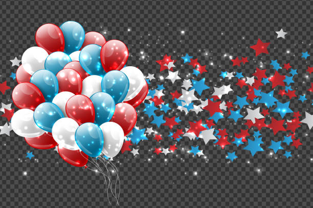 4 temmuz abd ulusal bağımsızlık günü kutlama web sitesi veya reklam baskı için parlayan dekorasyon. parti konsepti. vektör illustration. - family 4th of july stock illustrations