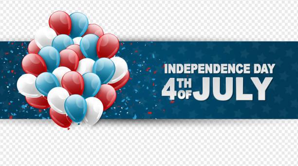 4 temmuz abd ulusal bağımsızlık günü kutlama afiş mavi, kırmızı ve beyaz balonlar bir web sitesi başlığı veya reklam baskı için şeffaf bir arka plan üzerinde. - family 4th of july stock illustrations