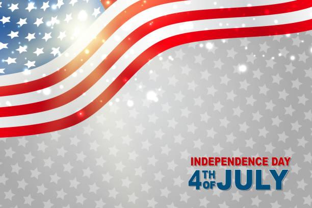 4 temmuz abd ulusal bağımsızlık günü kutlama amerikan bayrağı ile parlayan arka plan. parti konsepti. vektör illustration. - family 4th of july stock illustrations