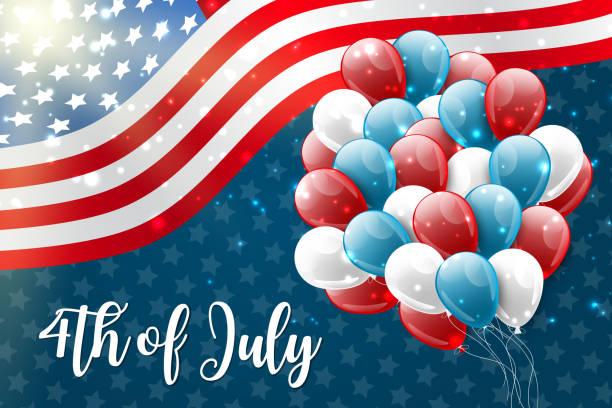 4 temmuz abd ulusal bağımsızlık günü kutlama amerikan bayrağı ve balonlar ile parlayan arka plan. parti konsepti. vektör illustration. - family 4th of july stock illustrations