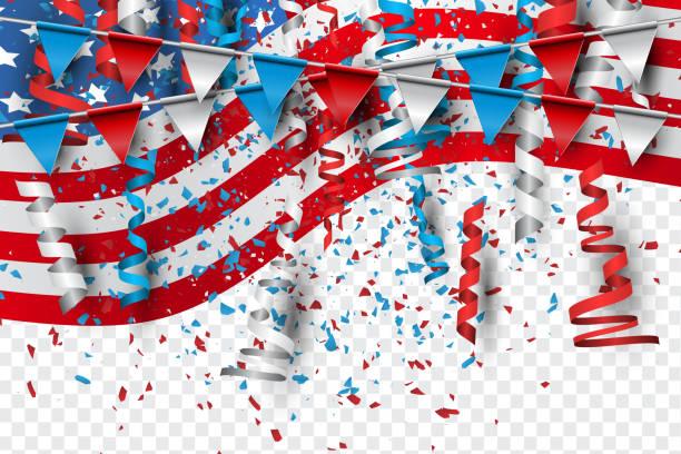 4 temmuz amerika birleşik devletleri ulusal bağımsızlık günü kutlama arka plan ile amerikan bayrağı, konfeti, ve düşen kağıt. parti konsepti. vektör illustration. - family 4th of july stock illustrations