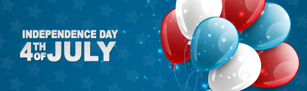 4 temmuz abd ulusal bağımsızlık günü kutlama banner mavi, kırmızı, ve beyaz balonlar bir web sitesi başlığı veya reklam baskı tipografi ile. vektör illustration. - family 4th of july stock illustrations