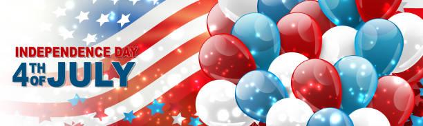 4 temmuz abd ulusal bağımsızlık günü kutlama banner mavi, kırmızı ve beyaz balonlar, konfeti, yıldız ve amerikan bayrağı tasarım konsepti ile. vektör illustration. - family 4th of july stock illustrations