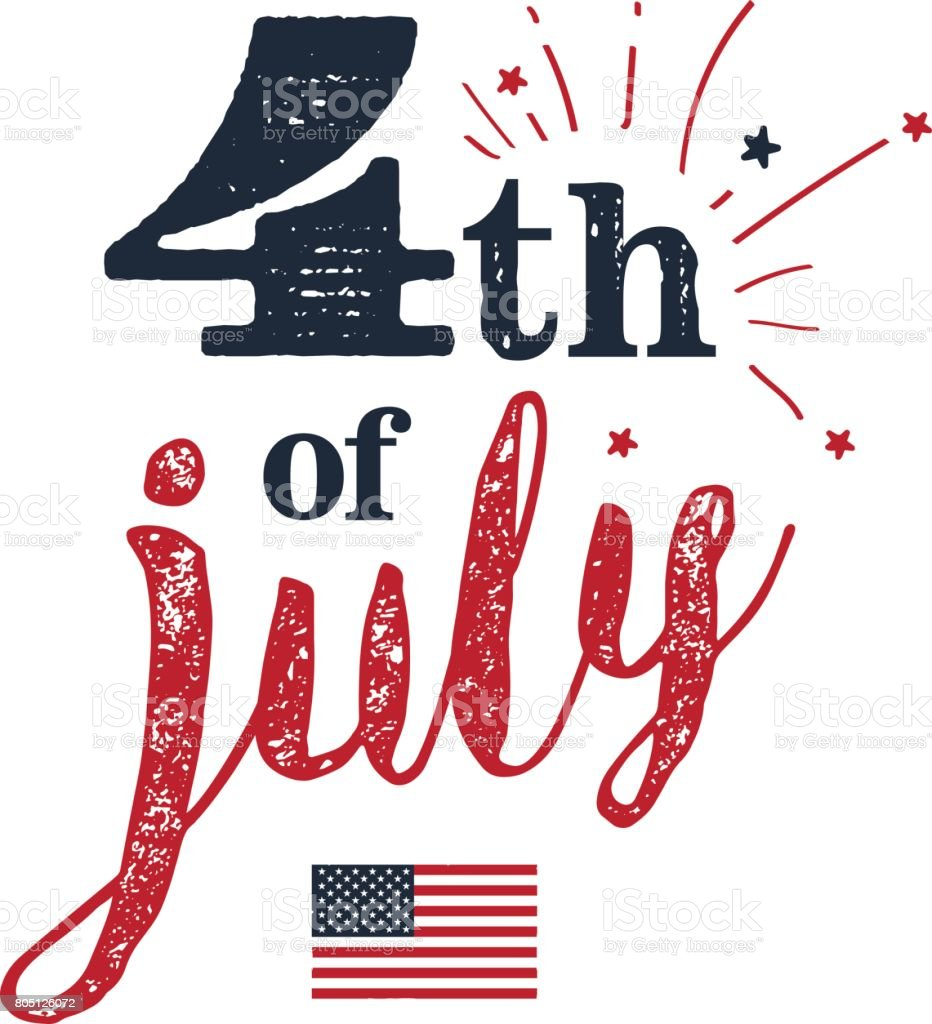 4th of July. USA Independence Day. 4th of July typography vector art illustration