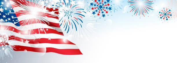 7 월 4 일 미국 독립 기념일 배너 배경 디자인 미국 국기 와 불꽃 놀이 벡터 일러스트 - independence day stock illustrations