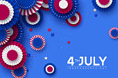 4th of July, USA Independence day banner. Paper fans in colors of American flag with confetti and stars. Vector illustration.