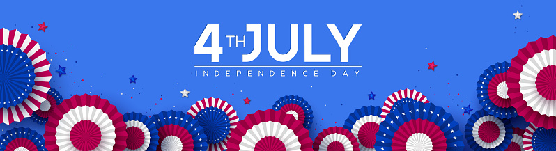 4th of July, USA Independence day banner.