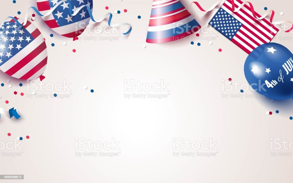 4th of July. USA independence day celebration background with balloons, flag and confetti. vector art illustration