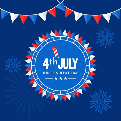 4th of July USA independence day related vector illustration with corners badge, firecracker, stars and fire works in flat style,