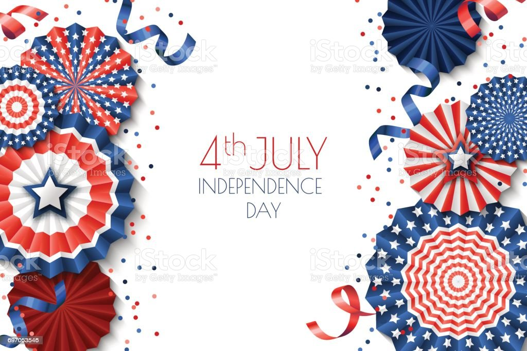 4th of July, USA Independence Day vector banner template.. White background with paper stars in USA flag colors. vector art illustration