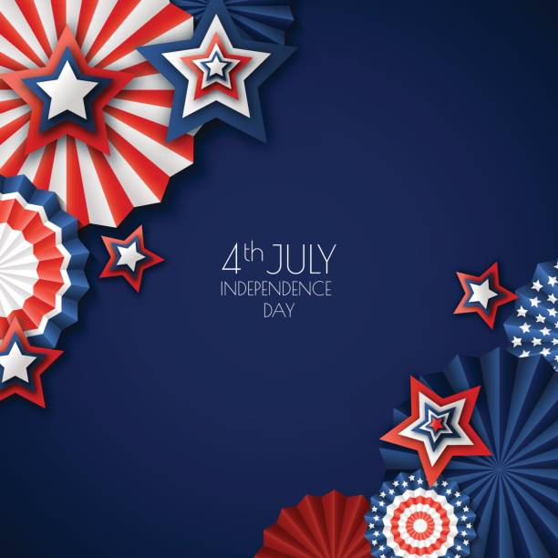 4th of July, USA Independence Day. Vector paper stars in USA flag colors. Blue background with place for text. vector art illustration