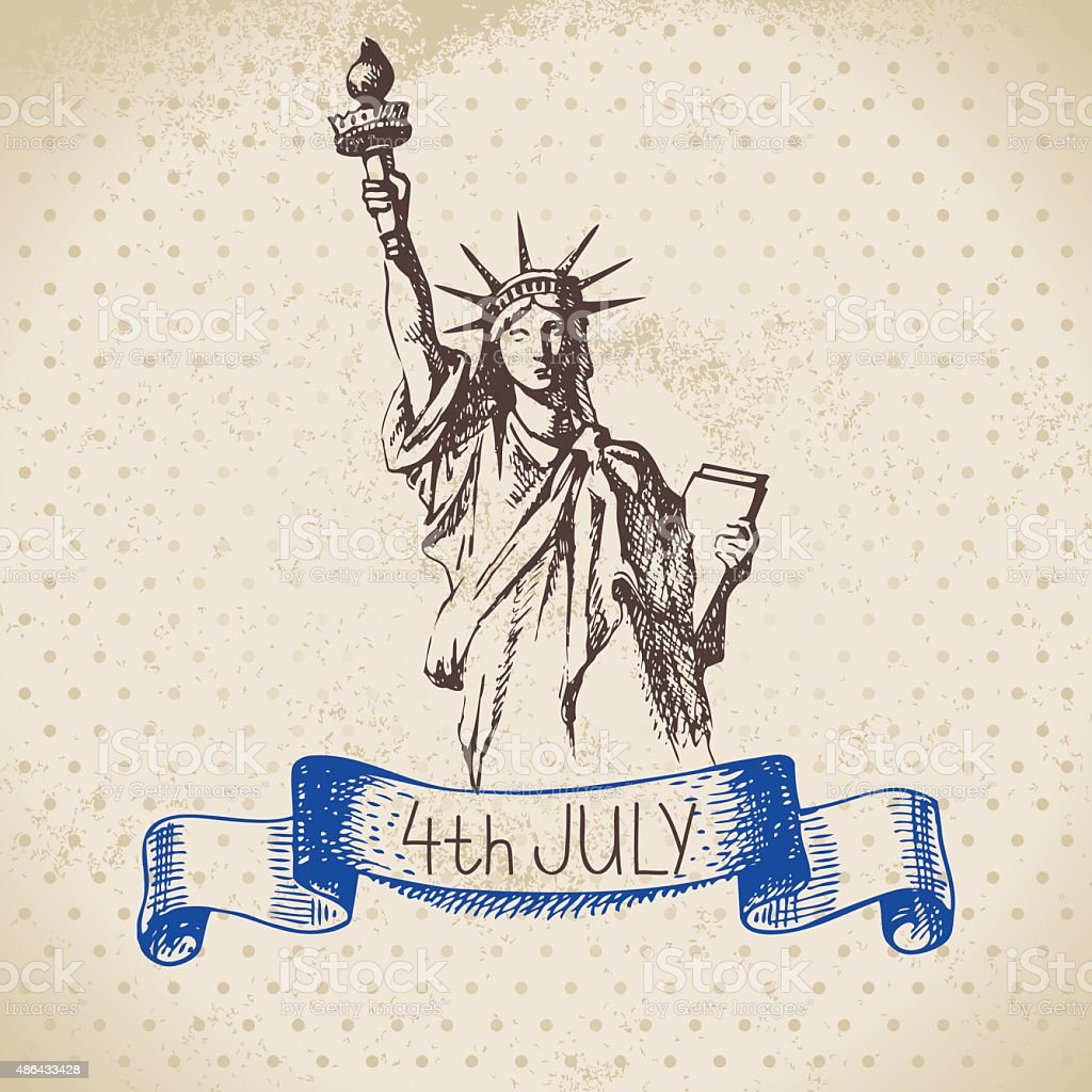 4th of July vintage background. Independence Day of America hand vector art illustration