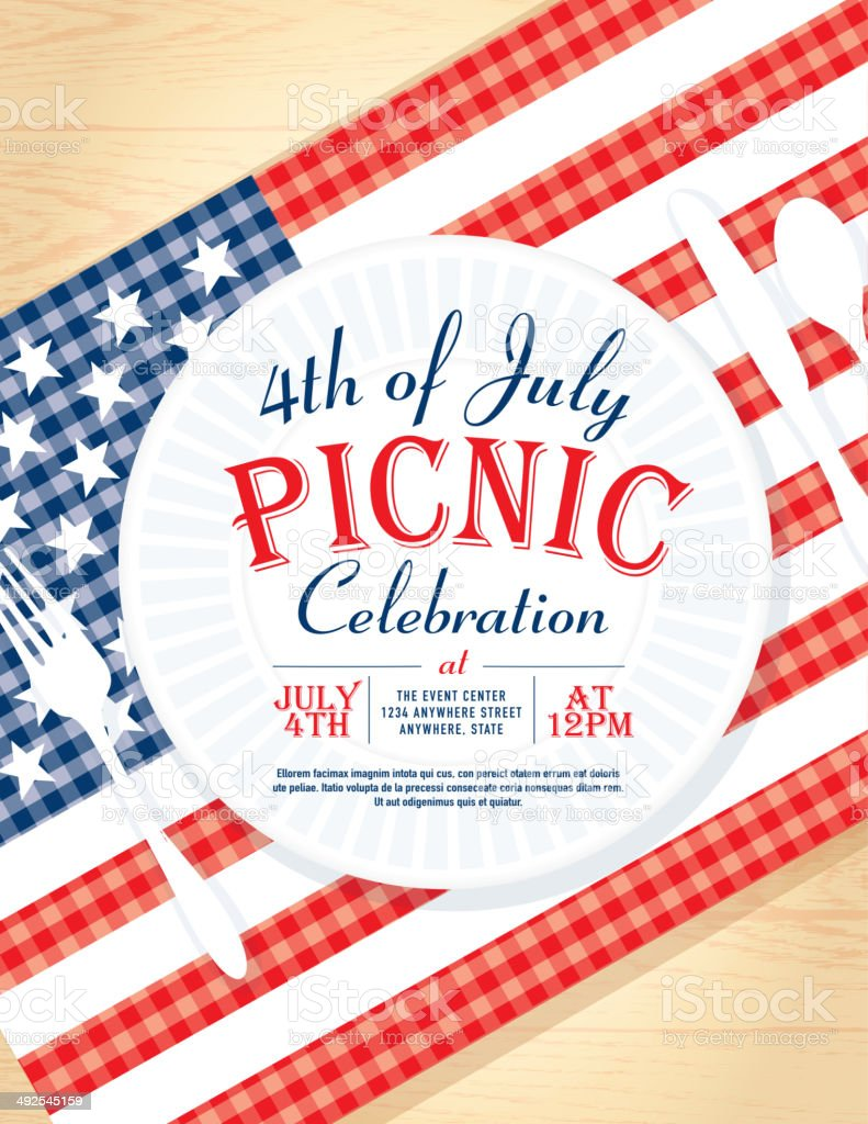 4th of July with American flag Picnic invitation design template vector art illustration