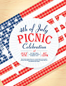 4th of July with American flag Picnic invitation design template