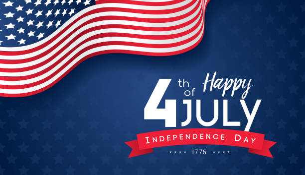 4th of july with usa flag, independence day banner vector illustration. - happy 4th of july stock illustrations