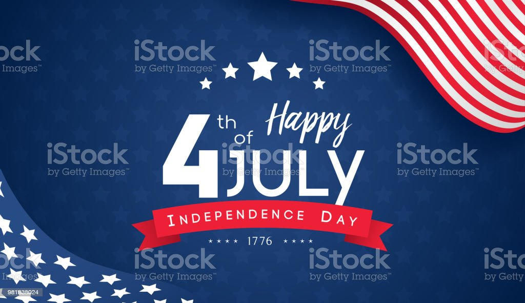 4th of July with USA flag, Independence Day Banner Vector illustration. 4th of July with USA flag, Independence Day Banner Vector illustration. American Flag stock vector