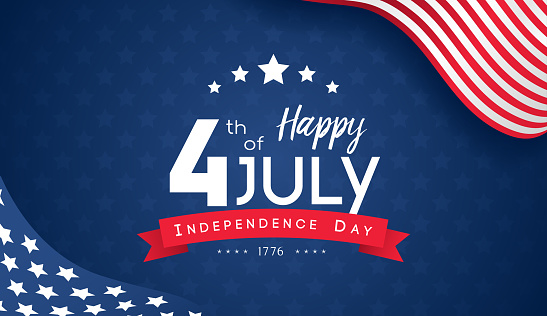 4th Of July With Usa Flag Independence Day Banner Vector Illustration Stock Illustration - Download Image Now