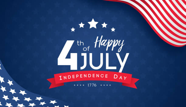 4th of July with USA flag, Independence Day Banner Vector illustration. vector art illustration
