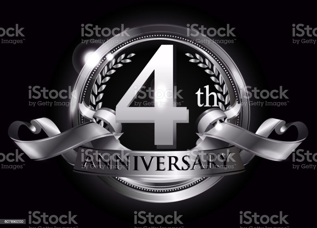 4th silver anniversary logo vector art illustration