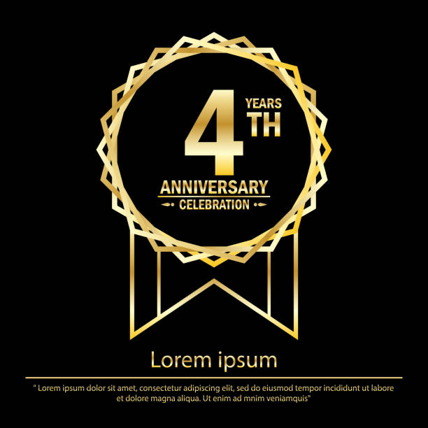 4th years anniversary celebration. anniversary logo with golden jagged edge ring elegance isolated on black background, vector template design for celebration greeting card and invitation card vector art illustration