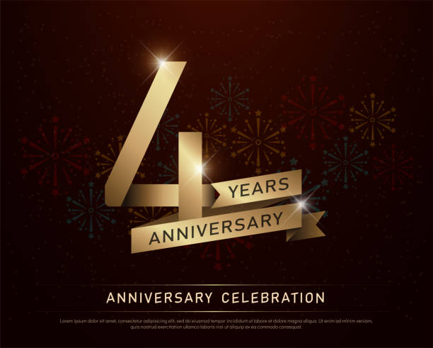 4th years anniversary celebration gold number and golden ribbons with fireworks on dark background. vector illustration vector art illustration