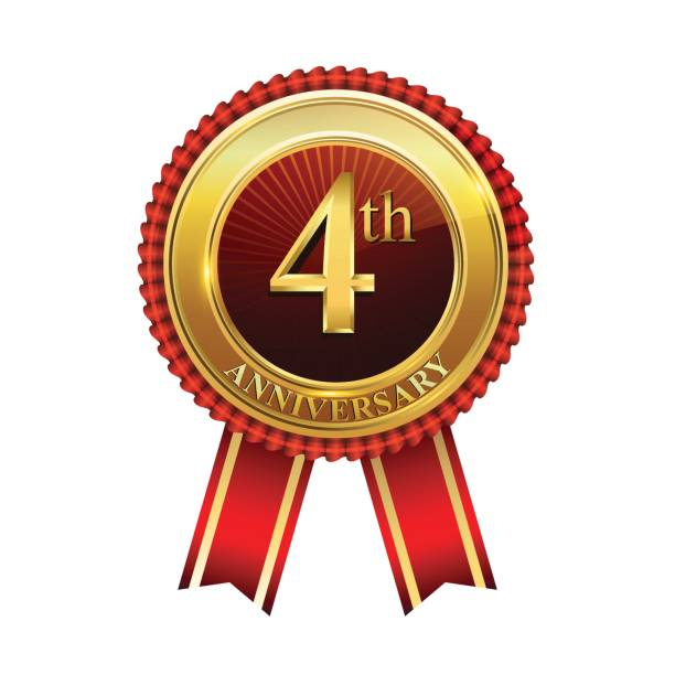 4th years anniversary golden badge with red ribbons isolated on white background, vector design for greeting card, banner and invitation card. vector art illustration