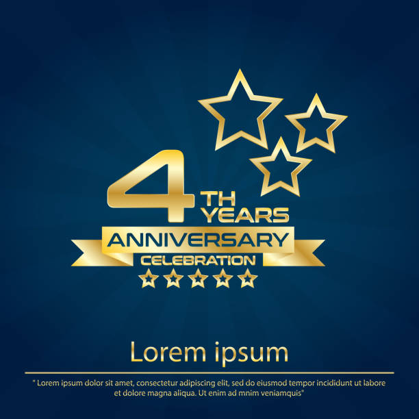 4th years elegance golden and star anniversary celebration emblem ,anniversary logo template design for web, game ,creative poster, booklet, leaflet, flyer, magazine, greeting card and invitation card vector art illustration