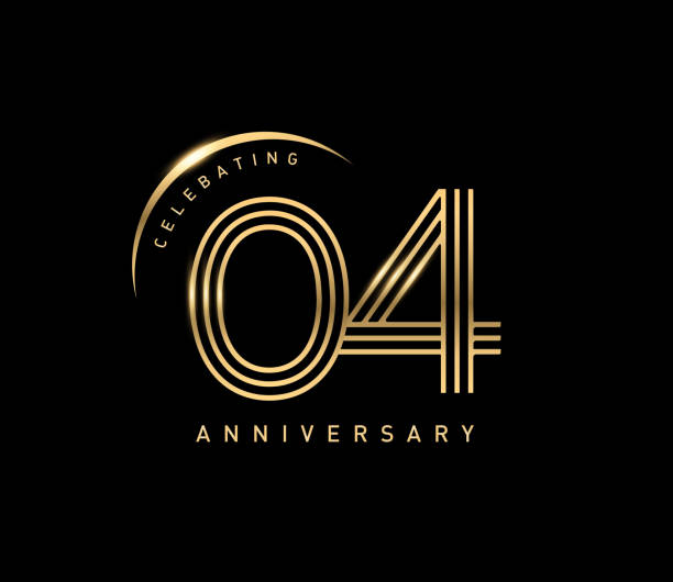 4thcelebrating anniversary logo with golden ring isolated on black background, vector design for greeting card and invitation card. vector art illustration