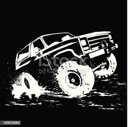 Chevy Blazer illustration in mud.