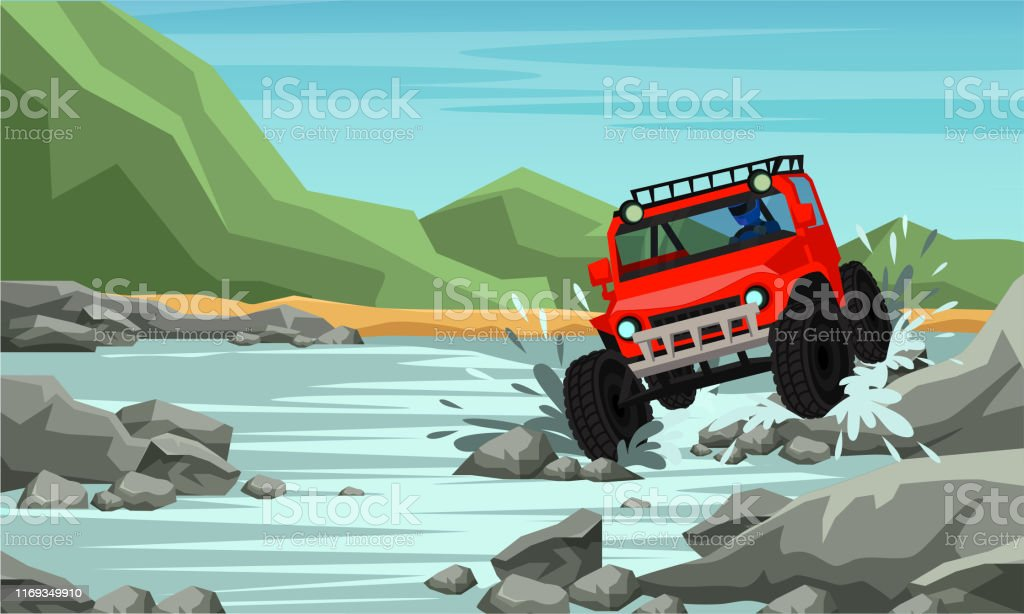 4x4 off road racing flat banner vector template. Auto competition,...