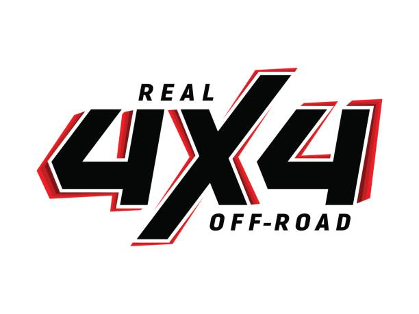 4x4 off-road emblem suv vector art illustration