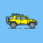 4x4 SUV line icon. Off-road sports utility vehicle symbol. Yellow all-terrain 4WD motor car graphic isolated on blue background. Vector illustration.