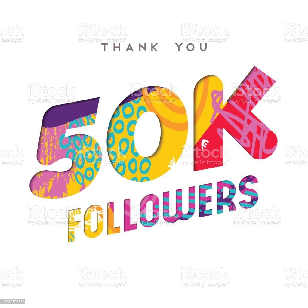 50k internet follower number thank you template vector art illustration