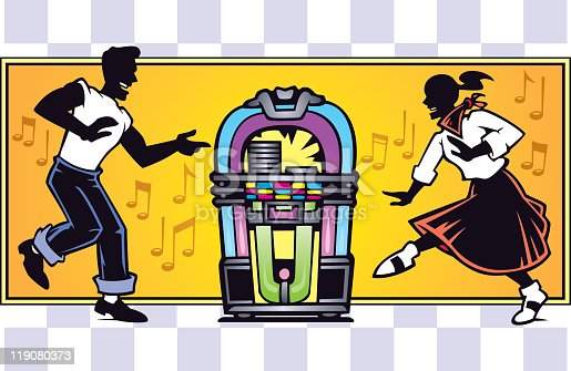 Image of a guy and girl dancing in front of a jukebox. Background is on separate layer from the jukebox and dancers.