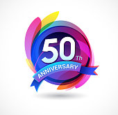 50th anniversary - abstract background with icons and elements