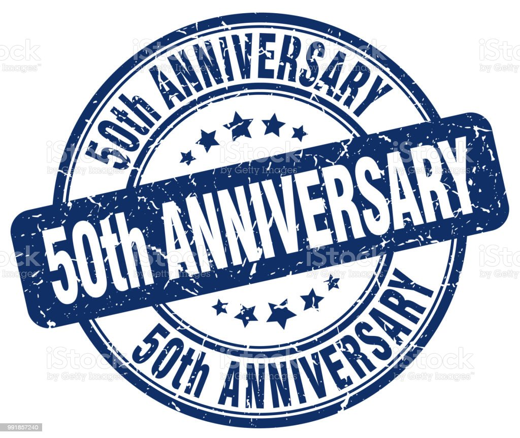 50th anniversary blue grunge stamp vector art illustration