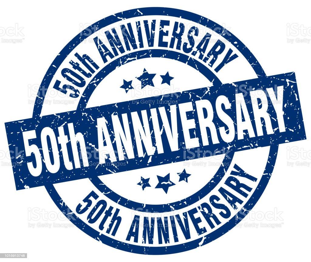 50th anniversary blue round grunge stamp vector art illustration