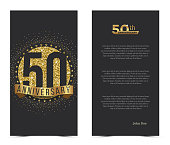 50th anniversary card with gold elements.