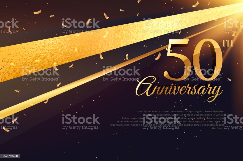 50th anniversary celebration card template vector art illustration