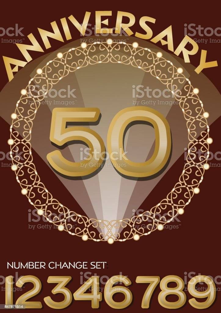 50th anniversary celebration in elegant golden frame. Golden number 50, set of numbers one, two, three, four, six, seven, eight, nine for change. Universal useful for any birthday, vector art illustration