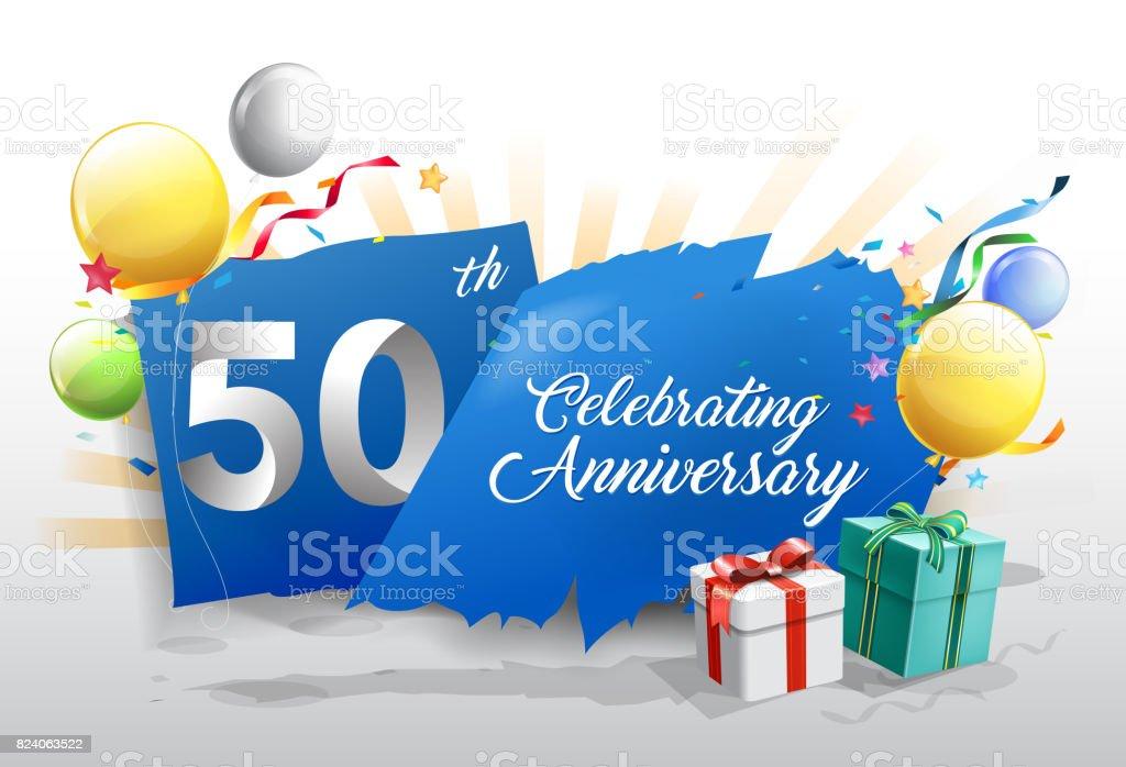 Celebration Du 50eme Anniversaire Avec Des Confettis Colores Et